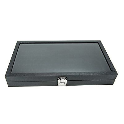 Glass Top Black Jewelry Display Case 72 Slot Ring Tray Storage Protect Box Fit