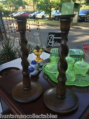 Pair Antique Vintage 1920's Barley Twist English Oak Candlesticks Brass Tops