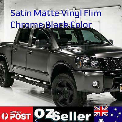 Air Bubble Free Stretch Matte Satin Chrome Black Vinyl Film Car Wrap 151x30cm