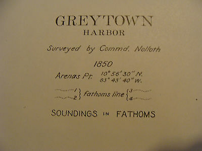 Early 1900's Original chart ISTHMIAN CANAL: plate 54 GREYTOWN HARBOR