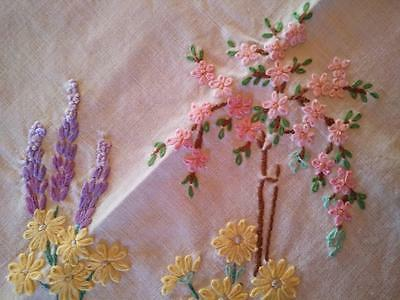 Charming Vintage Hand Embroidered Tablecloth ~ Standard Rose & Cottage Flowers
