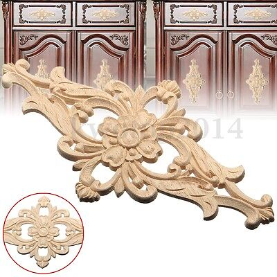 2/4pcs 14x27cm Wood Carved Flower Furniture Onlay Applique Unpainted Home Decor
