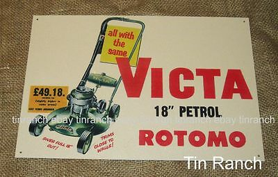 new vintage VICTA ROTOMO TIN SIGN retro LAWNMOWER fuel petrol OIL garage garden