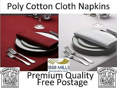 White Burgundy Napkins Table Linen Dinner Fabric Cloth Poly Cotton Hotel Wedding