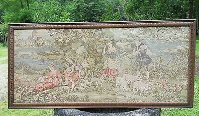 Vintage French large tapestry wall hanging embroidery 164x76cm