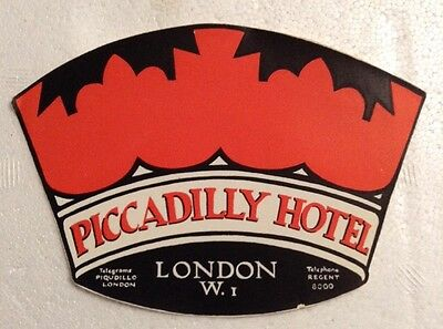 Early 1900s Piccadilly Hotel London Travel Luggage Label