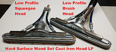 Hard Surface Scrubber Wand Tile Grout carpet Brush + Squeegee Set LP Cast Iron
