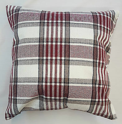 Wine  Red Tartan Checked Thick Linen Cushion Cover Carlyle Design £5.95 Each