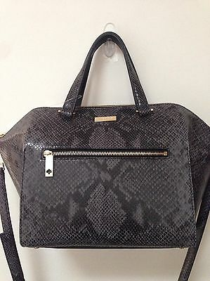 d3cc9a7e5a84 New Kate Spade Parliament Square Savannah Snakeskin Large Leather Satchel  Nwt