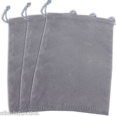 3-Pak__Gray Velour Jewelry Gift Pouch