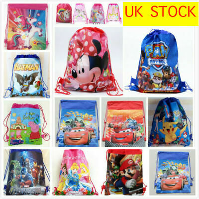 Kids Drawstring PE Swimming Party Bag Girls Boys 2 Sides Print
