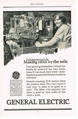 1925 GE General Electric Vtg. Print Ad Textiles Loom Clothmaking