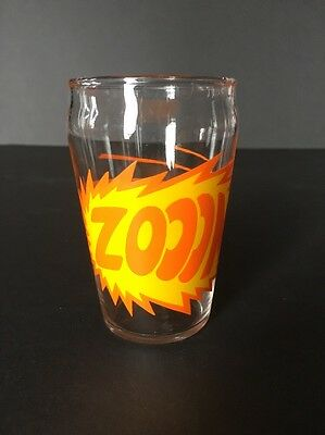 """Vintage Graphic Juice Glass - """"ZOOOM"""" graphic - 4"""" tall, 2.5"""" wide"""
