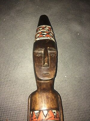 22in Tall Vintage African Wood Carving Figurine Mask Wall Hang Home Decor Office