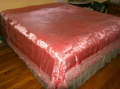 Pink Silk Damask  Bedspread Coverlet With  7 Inch Double Layer Fringe Tassel