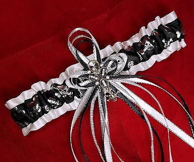 Black White and Silver Skull N Crossbones Garter Belt Wedding Prom Bridal Dance