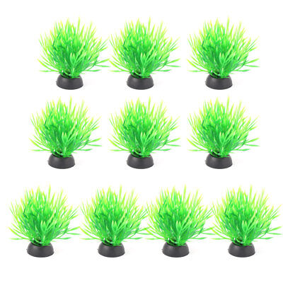 Aquarium Plastic Fish Tank Plant Ornament Grass Vivid Decoration Green 10pcs