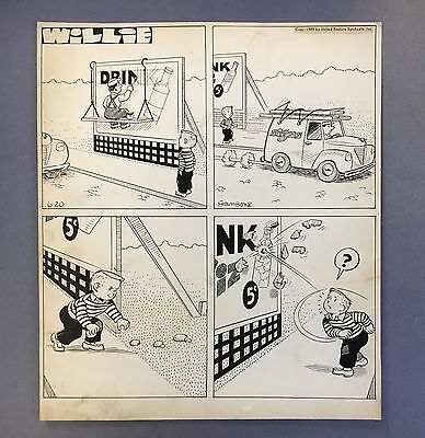 "Willie Daily Strip 6-20-49, Original art by Leonard Sansone ""Broken Bottle"""