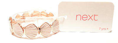 NEXT Girls gold and baby pink shell stretchable bracelet - BRAND NEW -