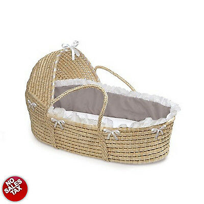 Natural Baby Moses Basket Bedding Hood White Gray Comfortable Sleeping Accessory
