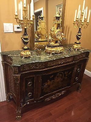 Outstanding Louis XVI Style Gilt Bronze Mounted Mahogany Commode