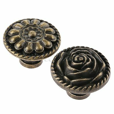 Mini Rose Flower Chinese Drawer Cabinet Door Handle Knobs Pull Antique Bronze