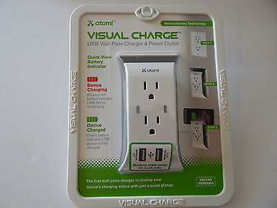 Atomi Sharper Image Visual Charge Usb Wall Plate Charger Power