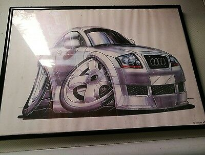Audi TT Car Koolart  Glass Framed Picture