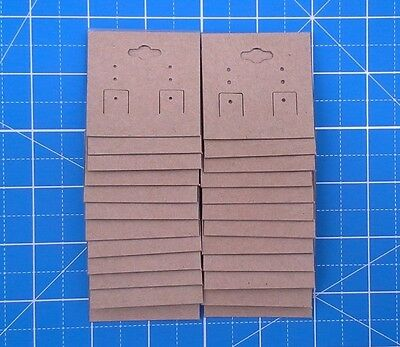 """KRAFT /Plastic Lined Earring Jewelry Hanging Display Cards 2"""" x 2'' 24 pcs"""