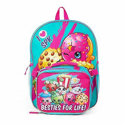 "New Shopkins 16"" Girls Backpack with Detachable Insulated Lunch Bag"