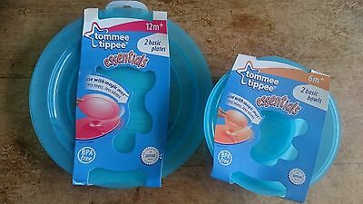 Tommee Tippee Baby Bowl and Plate set (2 of each) - Blue
