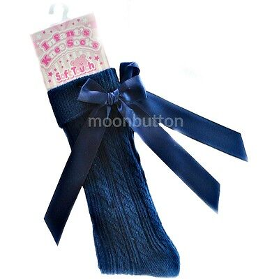 Baby girls/boys navy spanish- romany style knee high socks with bow 0-18 months