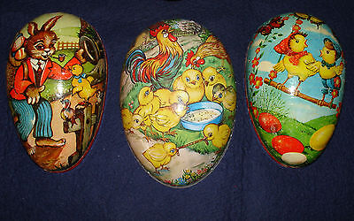 3 Antique German Easter EGGS Vintage Paper Mache Candy Box Rabbit Chicks Rooster