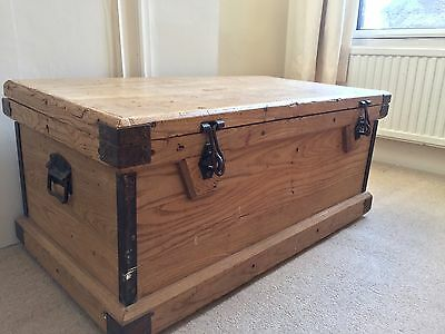 Large Wooden Antique Storage Trunk Chest / Wonderful Condition