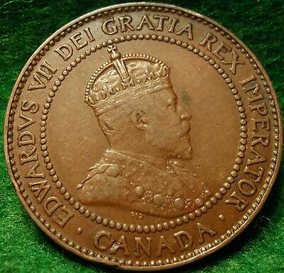 1909 XF-AU  High Grade CANADA LARGE CENT Edward VII COIN NoRes CANADIAN <.