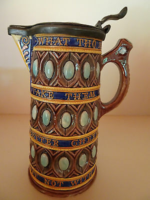 Antique Wedgwood Majolica Caterer Motto Jug or Tankard with Pewter Lid