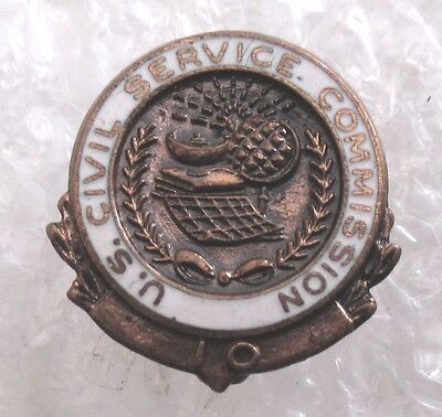 Vintage U.S. Civil Service Commission 10 Year Service Award Pin