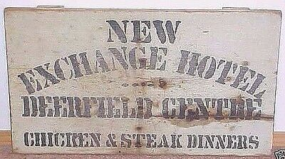 Old Painted Wood Sign New Exchange Hotel Deerfield Centre New Hampshire