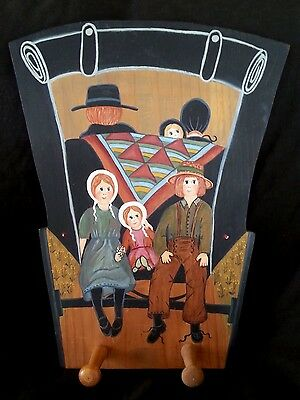 """Vintage woodenware folk art painting by Irene O'Connor """"The Amish"""", hanger"""