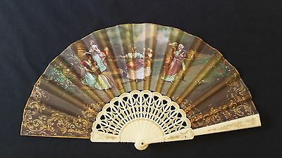Vintage HAND HELD FOLDING FAN Colonial Print Made in Spain Fabric Signed