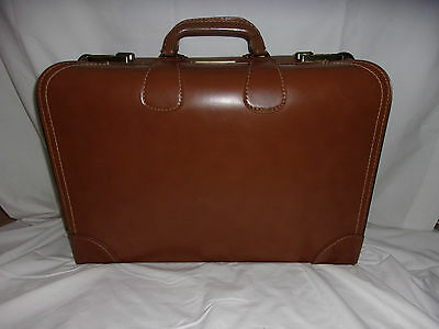 Vintage Diamond Leathercraft Co. Brown Leather Suitcase CLEAN #2 In Original Box