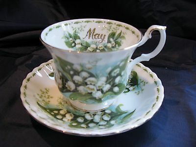 Royal Albert FOTM  MAY  Lily of Valley Teacup Saucer Mint Happy Mother's Day