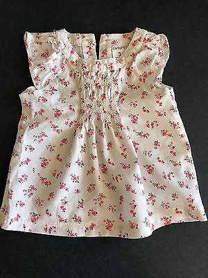 Baby Girl Baby Doll Top Dress White with Floral Print by Carters Size 3 months
