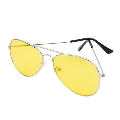 Classic Pilot Aviator Frame Yellow lens Night Driving Sunglasses Glasses NEW -FI