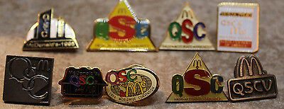 McDonalds 9x QSC QSVC Supplier Fast Easy Employee Collectible Pinback Pin Button