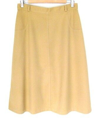 Vintage 1970s A-line Skirt Light Camel M