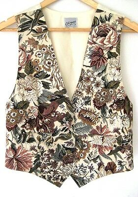 Vintage Boho Hippie Burgundy Brown Green Cream Floral Print Vest Sz M