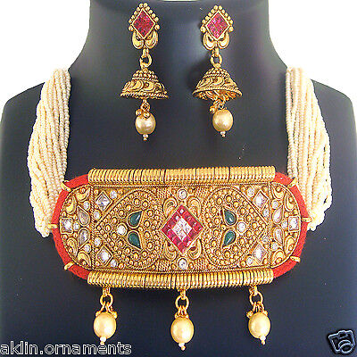 T 1 Indian Ethnic Jewelry Choker Bridal Necklace Fashion Traditional Set
