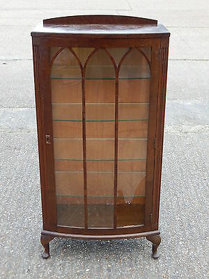 Vintage glazed mahogany bow front china display cabinet unit with glass shelves