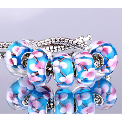 Charms Type Murano Fleur Bleu Rose Flower Blue Pink Bracelet Serpent Chamilia